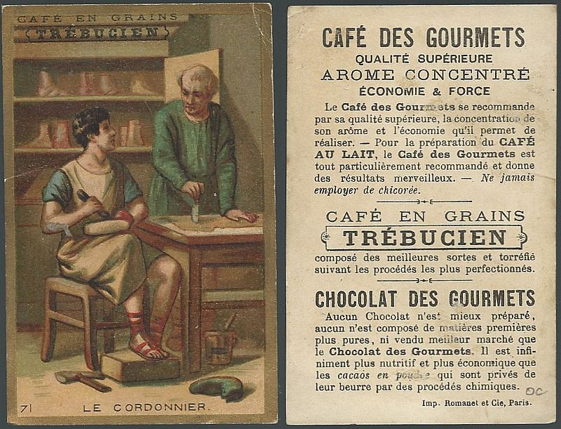 Image for VICTORIAN TRADE CARD FOR TREBUCIEN, CAFE EN GRANINS WITH CLASSICAL SCENE, LE CORDONNIER