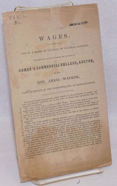Boston: Comer's Commercial College, 1852. Pamphlet. Pp.9-16, disbound pamphlet, 8.5x5 inches, acidic...