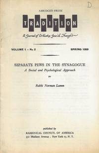 SEPARATE PEWS IN THE SYNAGOGUE: A SOCIAL AND PSYCHOLOGICAL APPROACH