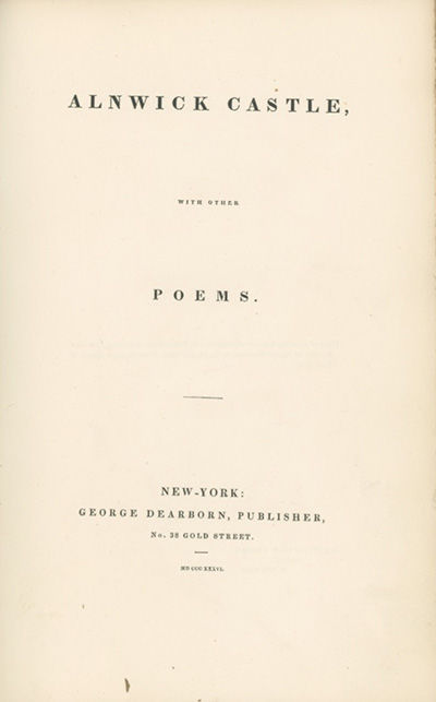 New York: George Dearborn, 1836, 1836. Second edition, expanded. BAL 6971; American Imprints 37878. ...