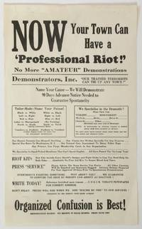 """Now Your Town Can Have a 'Professional Riot!' No More """"Amateur"""" Demonstrations [caption title]"""