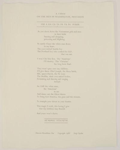 Santa Barbara, CA: Unicorn, 1970. Second printing. Uncorn Broadsheet One. Broadside that measures 12...