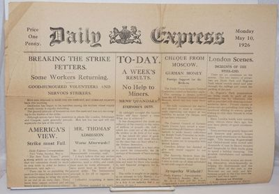 London: the newspaper, 1926. Broadsheet on newsprint, fold-creased and toned, some closed tears. Ant...
