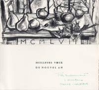 Pierre Théron : carte de voeux pour 1957 et lithographie Originale