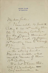 "Autograph Letter, signed, ""My dear Jack"""