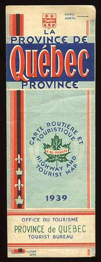 : Office du Tourisme, 1939. Unbound. Very Good. Tourist's road map of Quebec, Canada. Very good plus...