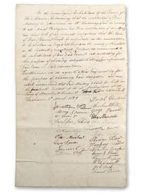 """Manuscript declaration signed by """"Inhabitants of the Town of Fair Haven, beleaving [sic] that the institution of Free Masonry is pernicious in its tendency, and an enemy to all Moral Religions, and Free institutions of our country,"""" calling for a caucus to select local delegates to a proposed Bristol County Anti-Masonic convention in Fall River, Mass."""