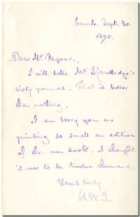 AUTOGRAPH LETTER, SIGNED WITH INITIALS, TO HIS PUBLISHER