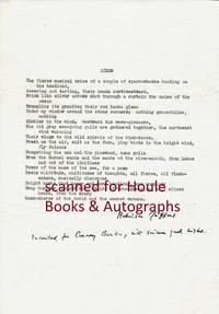 "Manuscript of his Poem ""Birds"" Signed / Inscribed"