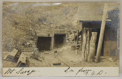 A real photograph postcard from 1905, showing the tunnels at Mt. Savage in Frostburg, Maryland.
