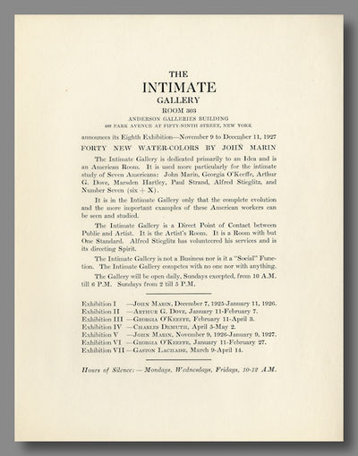 New York: The Intimate Gallery, 1927. Printed broadside (28 x 21.5cm), text on recto only. Near fine...