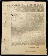 Broadside, begins: D. Carlos Francisco de Croix ... virrey, gobernador, y capitan general del reyno de Nueva-Espana ... Sin embargo de que por leyes y reales disposiciones esta justamente prevenido que las platas se conduzcan con los despachos ...