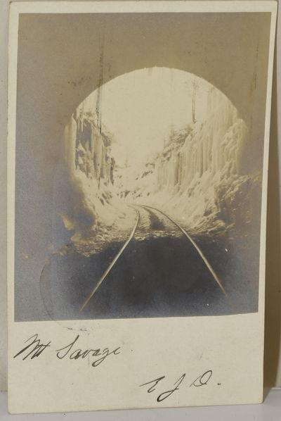 A real photograph postcard from 1905, an image taken from the inside of the tunnel at Mt. Savage in ...