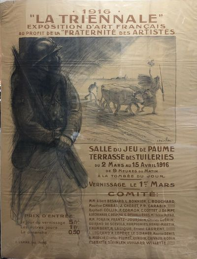 Paris, 1916. Original 1916 WWI benefit poster for the 1916 tri-annual exposition of French Art in Pa...