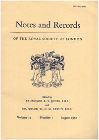 Notes and Records of The Royal Society of London (Vol 33, No. 1, August 1978)