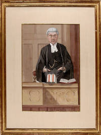 An original watercolour and bodycolour caricature portrait of the High Court Judge, Lord Warrington