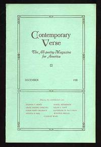 Contemporary Verse: December 1920 by  editor  Charles Wharton - 1920 - from Between the Covers- Rare Books, Inc. ABAA (SKU: 75010)