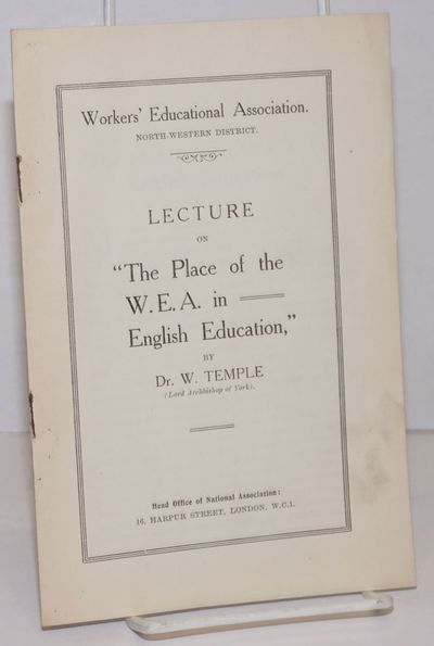 London: Workers' Educational Association, North-Western District, nd. 15p., stapled wraps, 5.5 x 8.2...