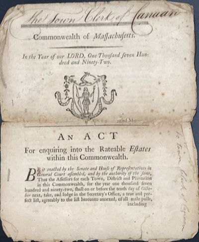 Boston, (MA): By Thomas Adams, printer to the Honourable, The General Court, 1792. 22 x 18 cm. 8pp. ...