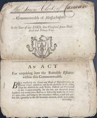 COMMONWEALTH OF MASSACHUSETTS. In The Year of Our Lord One Thousand Seven Hundred and Ninety-Two. An Act for Enquiring into the Rateable Estates within this Commonwealth