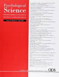 image of Psychological Science (Volume 20, Number 4, April 2009)