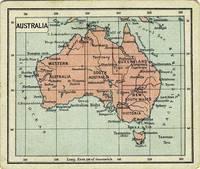 Van Houten's Cocoa.  Trade card with map of Australia