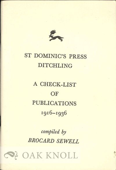 Ditchling: Ditchling Press, 1979. paper wrappers. St. Dominic's Press. 8vo. paper wrappers. (viii), ...