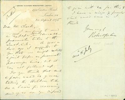 1875. Very Good. Sabine, Robert (1837-84). A.L.s. to Latimer Clark. London, April 20, 1875. 1-1/2pp....