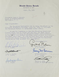 TLS. To Congressman Seymour Halpern. About the Menominee Restoration Act. Signed by 5 Senators...