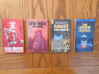 Harry Harrison Novels Four (4) Paperback Book Lot, including:  Plague From Space; Captive Universe; Deathworld 3, and; The Lifeship.