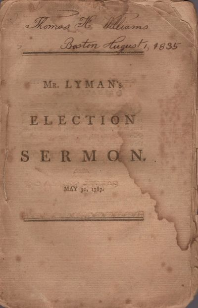 Boston: Printed by Adams and Nourse, 1787. First Edition. Wraps. Good. Stitched, untrimmed wraps. Ap...