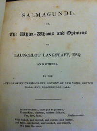 Salmagundi or the Whim-Whams and Opinions of Launcelot Langstaff and Others. by  Washington Irving - First Edition - 1824 - from civilizingbooks (SKU: 967LCD-3435)