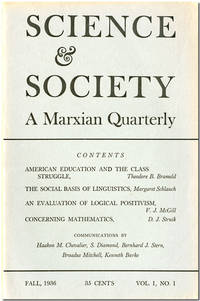 SCIENCE & SOCIETY  A MARXIAN QUARTERLY by Science & Society - Hardcover - 1949 - from William Reese Company - Literature ABAA-ILAB (SKU: WRCLIT51575)