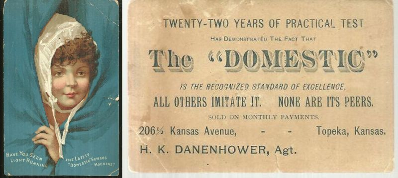VICTORIAN TRADE CARD FOR DOMESTIC SEWING MACHINE, Advertisement