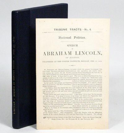 New York: New York Tribune, 1860. First edition. Original wrappers. Very Good. FIRST EDITION of Linc...