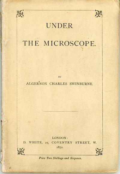 London: D. White, 1872. Octavo, pp. 2-88, half title leaf and errata slip present, D5 a cancel as us...