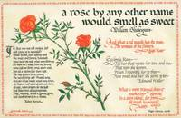 A calligraphic panel on vellum with a watercolor of a stem of roses surrounded by poems and verses relating to roses by Shakespeare, Leigh Hunt, Edmund Waller, John Keats, Robert Herrick and Gertrude Stein