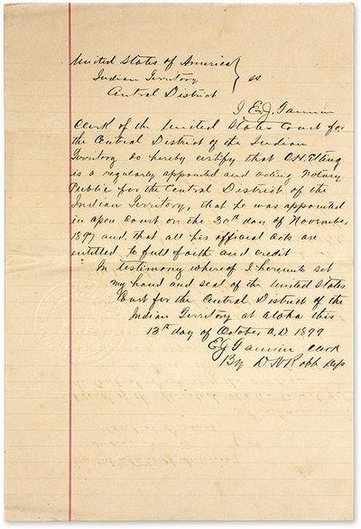 1899. Atoka, Indian Territory, on 13 October 1899. Atoka, Indian Territory, on 13 October 1899. Docu...