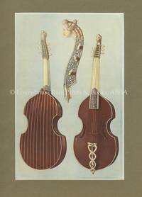Viola Da Gamba. Original Chromolithograph.  Musical Instruments; Historic, Rare and Unique