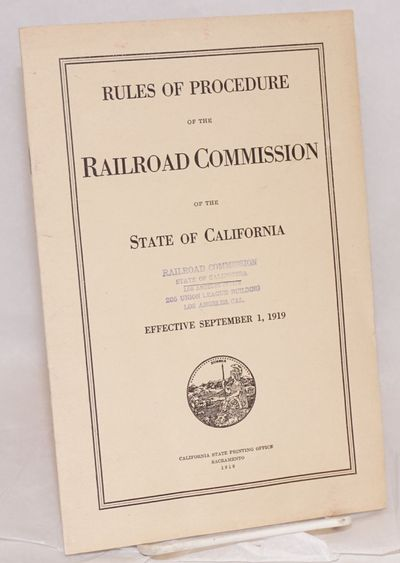Sacramento: California State Printing Office for the commission, 1919. Pamphlet. 23p., staplebound p...