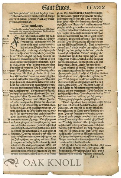 N.P.: n.p., n.d.. 13 1/2 by 9 inches. Text in German. Leaf from a German Bible, Begins with the fina...