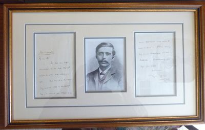 Two-page hand-written letter by H.G. Wells, matted and framed, along with a photographic portrait re...