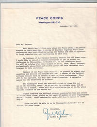 Two Typed Letters Signed on Peace Corps  Letterheads, 1961