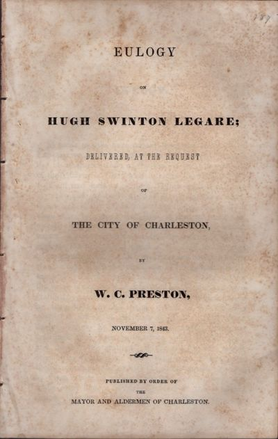 : Published by Order of the Mayor and Aldermen of Charleston, 1843. First Edition. Wraps. Good. Disb...
