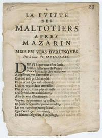 Fuitte des maltotiers apres Mazarin. Mise en vers burlesques. Par le Sieur Pomphollis.