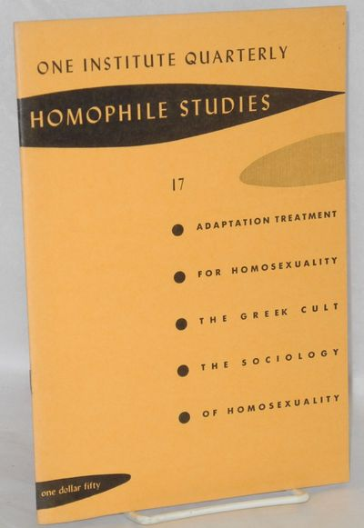 Los Angeles: One Institute, 1962. Magazine. pp40-72, 6.75x9.5 inches, essays and articles, journal i...