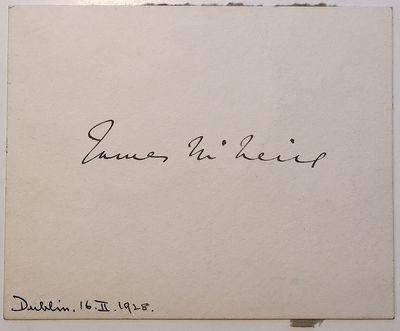 Dublin, 1928. unbound. 3.5 x 4.5 inches, signed %u201CJames McNeill,