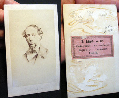 Berlin: E. Linde & Co., 1865. CDV photograph of an older Charles John Huffam Dickens (1812-1870) Eng...