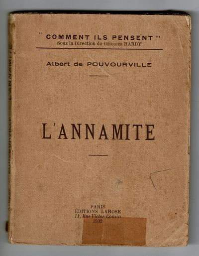 Paris: Editions Larose, 1932. First edition, 12mo, pp. 106, ; toned throughout, p. 32 has old tape r...