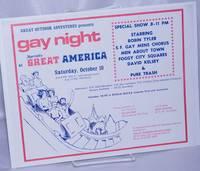 image of Great Outdoor Adventures presents Gay Night at Marriott's Great America [handbill] Saturday, October 10 starring Robin Tyler, S.F. Gay Mens Chorus, etc.